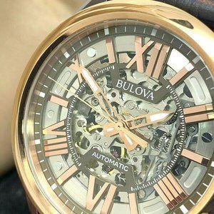Bulova 98A165 Men's Automatic Brown Skeleton Watch